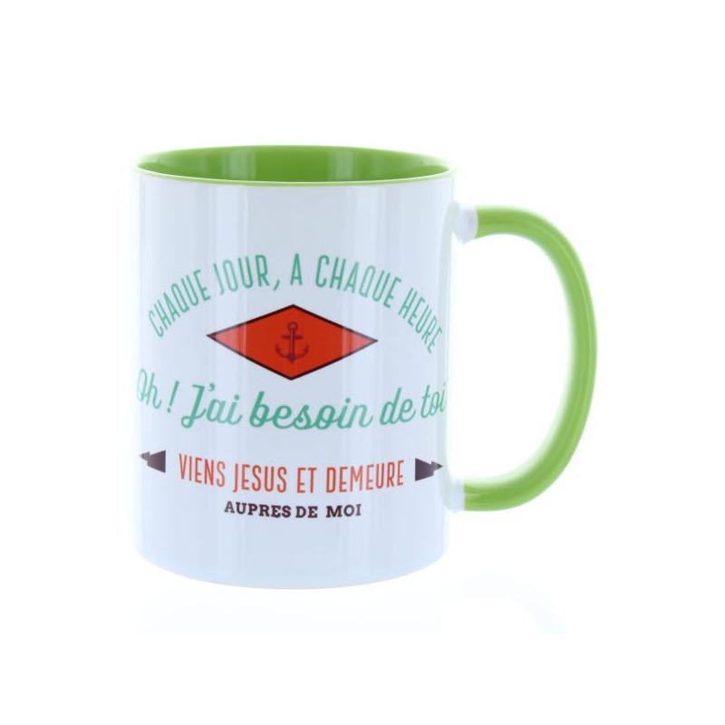 Mug Vert clair Chaque jour à chaque heure– MU-FI-003
