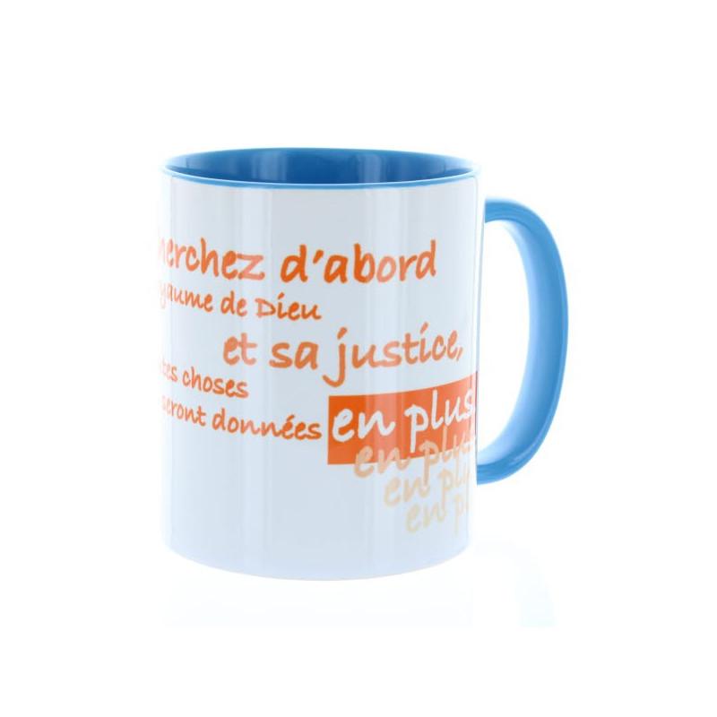 Mug Bleu clair Cherchez d'abord – MU-FG-018