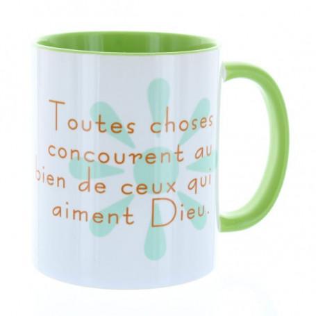 Mug Vert clair Toutes choses concourent au bien – MU-FI-020
