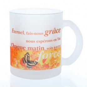 Mug verre satiné Eternel fais-nous grâce – MU-E-019