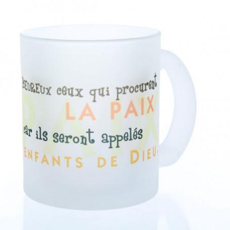 Mug verre satiné Heureux ceux qui procurent la paix – MU-E-022