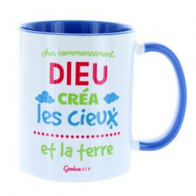 Mug Bleu cambridge Au commencement Dieu créa – MU-FH-025