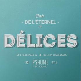 Tableau Alu Délices – Psaume 37.4 – 20x20 cm