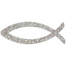 Autocollant Ichthus métallisé diamant