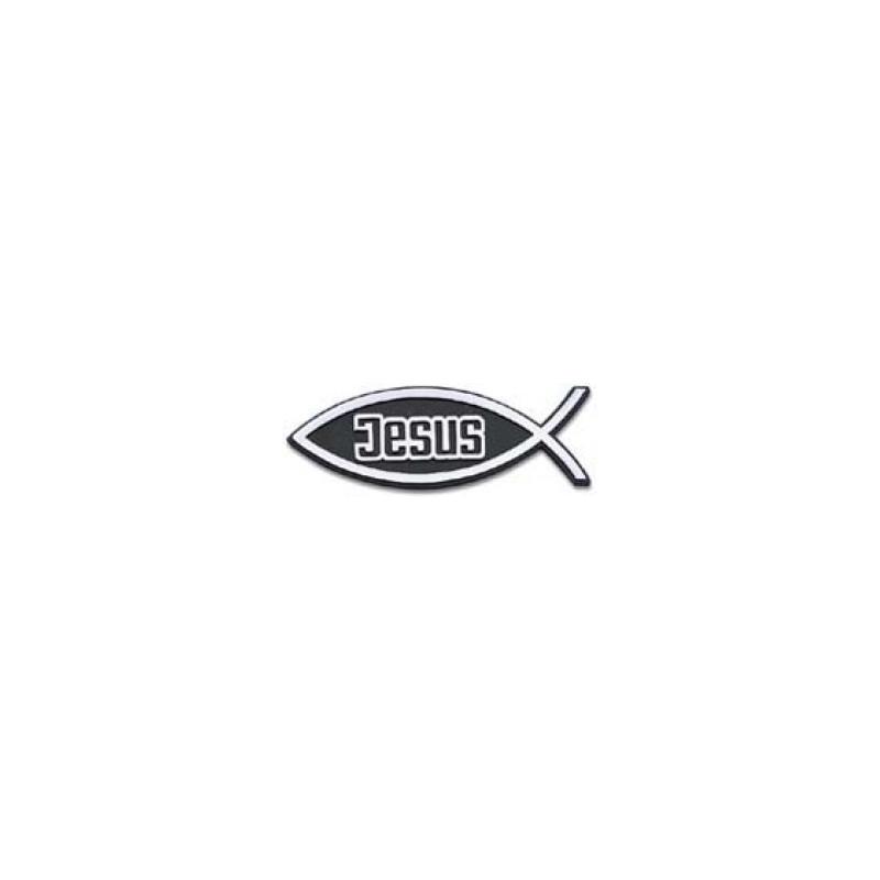 Autocollant relief Ichthus+Jésus argenté