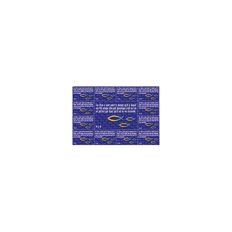 Carte postale de 13 autocollants Jean 3 : 16