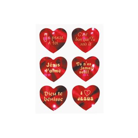 Autocollant planche 6 cœurs rouge brillant - 71776