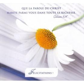 Carte double Félicitations - Colossiens 3.16