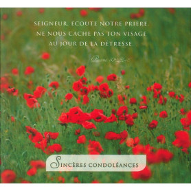 Carte double Sincères Condoléances - Psaume 102 2-3