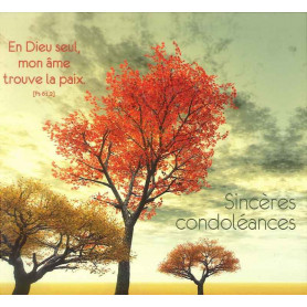 Carte double Sincères Condoléances - Psaume 61.2