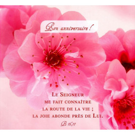 Carte double Anniversaire - Psaume 16.11