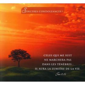 Carte double Sincères Condoléances - Jean 8.12