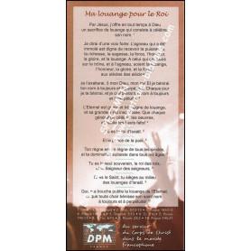 Carte de proclamation Ma louange pour le Roi
