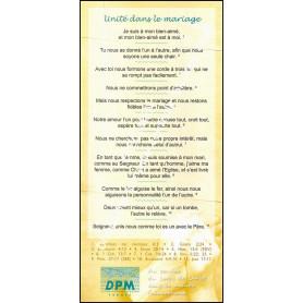 Carte de proclamation Unité dans le mariage