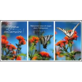 Carte simple Panoramique Anniversaire - Matthieu 5.1-12 Trio de fleurs orange et papillons