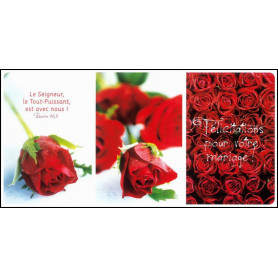 Carte simple Panoramique Mariage - Psaume 46.8. Trio de roses rouges
