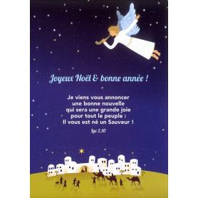 Carte simple Noël Ange - Luc 2.10
