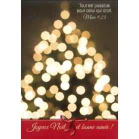 Carte simple Noël Lumières - Marc 9.23