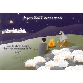 Carte simple Noël Bergers - Ephésiens 3.17