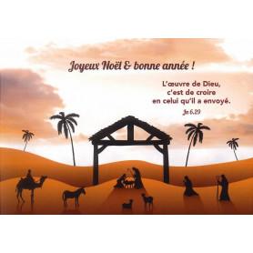 Carte simple Noël Crèche - Jean 6.29