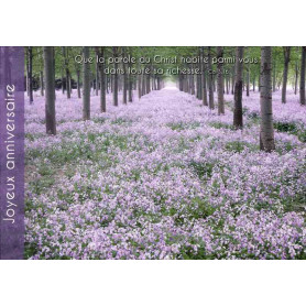 Carte simple Anniversaire Forêt mauve - Colossiens 3.16