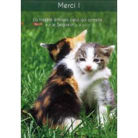 Carte simple Merci Chatons - Psaume 32(31).10
