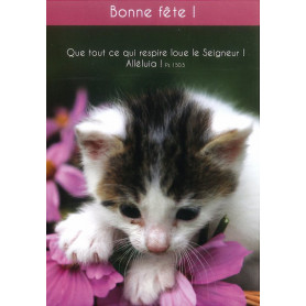 Carte simple Bonne Fête Chaton - Psaume 150.5