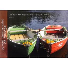 Carte simple Anniversaire de mariage Barque - Psaume 25.10