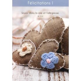 Carte simple Félicitations Coeurs en toile - Matthieu 5.12