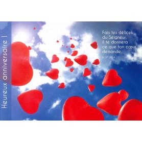 Carte simple Anniversaire Envolée de ballon - Psaume 37(36).4