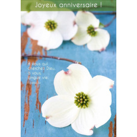 Carte simple Anniversaire Fleurs blanches - Psaume 69(68).33