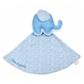Doudou éléphant - Dieu te garde 28 x19 cm bleu - 71373