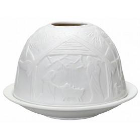 Photophore dôme en porcelaine motif crèche - 74665 - Uljo
