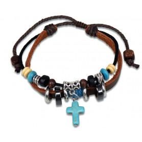 Bracelet cuir avec perles et pendentif croix en verre - 75249 - Uljo