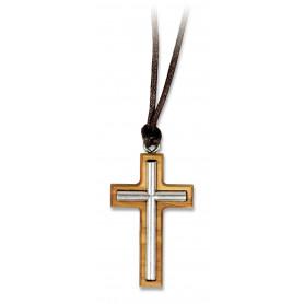 Pendentif Croix argentée sur bois d'olivier avec cordon – 75187 - Uljo
