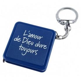 Porte-clés mètre ruban 1 m L'amour de Dieu bleu – 728962 - Uljo