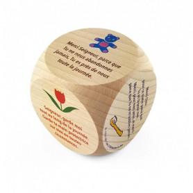 Mini dé en bois Prières enfant - 72561 - 5x5 cm - Uljo