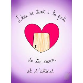 Carte simple Cœur - Dieu se tient à la porte de ton cœur et t'attend