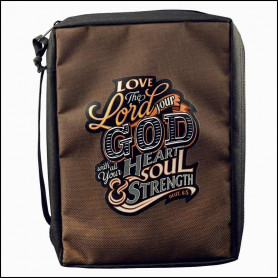 Housse de Bible Medium – Love The Lord Your God – Brown