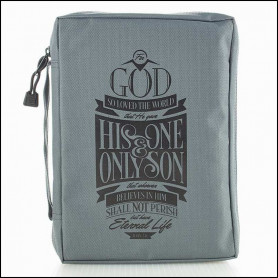 Housse de Bible Large – God so loved the world – Gray