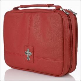 Housse de Bible Large à double compartiment– Croix - Rouge - BBL578