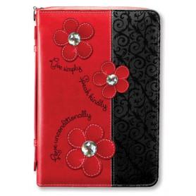 Housse de Bible Large – Daisy - Black/Red