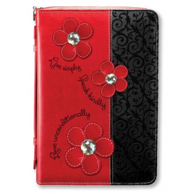 Housse de Bible Medium – Daisy - Black/Red