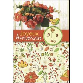 Carte double Anniversaire - Psaume 145.97 - Tirette âge de 1 à 109 ans
