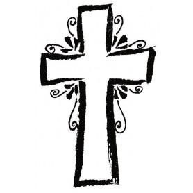Tampon bois croix stylisée - Artemio