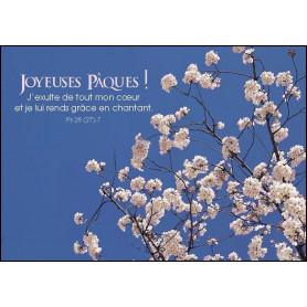 Carte simple Joyeuses Pâques ! Psaume 28.7