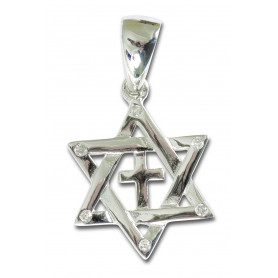 Pendentif étoile de David avec croix en argent 2 cm – 75222 - Uljo