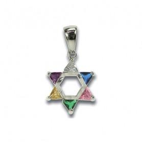Pendentif étoile de David avec 6 pierres de couleur – 75224 - Uljo