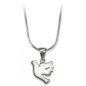 Pendentif colombe blanche et argent avec chaine – 75240 - Uljo