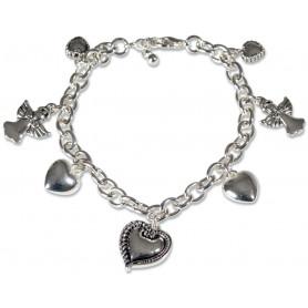 Bracelet métal coeurs et anges 19 cm - 75237 - Uljo